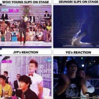 fail slipping on stage woo young JYP seungri YG reaction meme